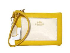 Coach BCL Crossgrain Yellow Chalk Leather Wristlet 53142 * See this great product. (This is an Amazon affiliate link)