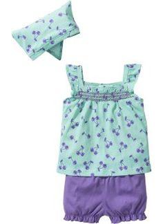 Top bébé + short + fichu (Ens. 3 pces.) en coton bio, bpc bonprix collection, menthe clair/violet clair