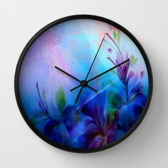 Sunset Painterly Floral Wall Clock by Judy Palkimas - $30.00
