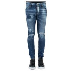 dsquared2 'Sexy Twist' Jeans (€330) ❤ liked on Polyvore featuring men's fashion, men's clothing, men's jeans, mens distressed jeans, mens ripped jeans, men's paint splatter jeans, sexy mens jeans and mens destroyed jeans