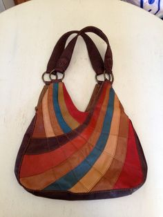Lucky Brand Vintage Inspired Leather Multi-Color Patchwork Hobo Purse Tote Bag