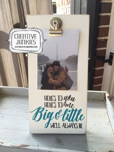 Big and Little, Sorority Sister, Picture Frame, Photo Frame, Memo Board by CreativeJunkies on Etsy