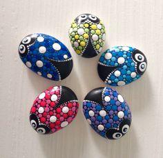 Ladybirds set of 5 stones Fairy Garden by CreateAndCherish