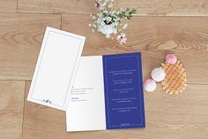 menu mariage Classique liseré 4 pages by Tomoë pour www.rosemood.fr #mariage #menu #wedding