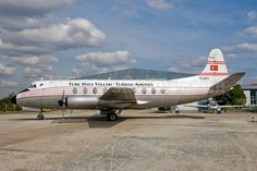 Turk Hava Yollari-Turkish Airlines Vickers Viscount 794D TC-SEV Commercial Plane, Vinyl Record Player, Cargo Aircraft, Turkish Airlines, Air Festival, Vintage Restaurant, Viscount, Retro Vintage, Vintage Designs