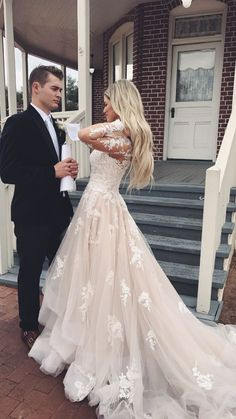 Luxurious Lace Appliques A Line Wedding Dress, Long Sleeve A Lime Tulle Bridal Gown Wedding Dress, Bridal Dress, Wedding Party Dresses - Lace Wedding Dresses Long Sleeve Wedding, Bridal Wedding Dresses, Dream Wedding Dresses, Prom Dresses, Tulle Wedding, Ling Sleeve Wedding Dress, Wedding Venues, Ball Dresses, Ball Gowns