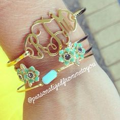 Our Cut Out Monogram Bangle plays well with others!