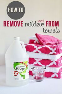 How To Remove Mildew Smell From Towels     Wash your load of towels in the hottest water possible and add 1 cup of white vinegar to the load.  Do not use detergent or bleach, just hot water and vinegar. Then a second time with detergent and wash as normal.