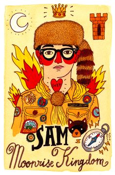 Illustration of Sam, from Moonrise Kingdom by Ricardo Cavolo.