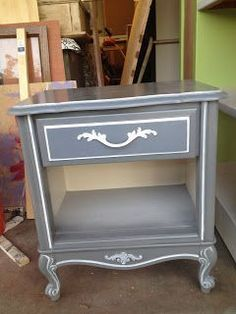 Grey and white, hand painted furniture makeover Furniture Finishes, Pink Home Decor, Furniture, Furniture Rehab, Recycled Furniture, Diy Furniture, Hand Painted Furniture, Painted Furniture, Refinishing Furniture