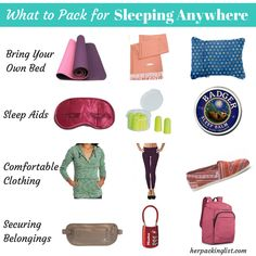 Packing for sleeping on the road, airport floors, buses, and hostels!  #herpackinglist