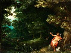 WALDINNERES MIT JOHANNES DEM TÄUFER, UM 1596 Öl auf Holz. 24,5 x 32,5 cm. Gerahmt. Eine Expertise von Dr. Klaus Ertz vom 11. März 1980 liegt in Kopie bei....