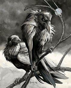 Silver Crows by Daniel Govar for Ithaca Fantastik Film Fest Art Show #ink #watercolor #silver