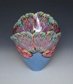 Coloured Porcelain Vases by Judith de Vries Glass Ceramic, Ceramic Bowls, Ceramic Pottery, Ceramic Mugs, Stoneware, Porcelain Jewelry, Porcelain Ceramics, Painted Porcelain, Fine Porcelain