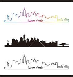 New york skyline linear style with rainbow vector by paulrommer on VectorStock®