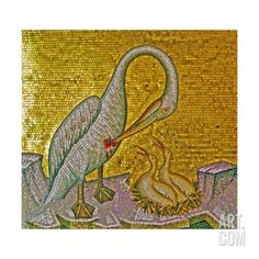 Mother Pelican Feeding Her Young with Her Own Blood, Kykkos Monastery, Troodos Mountains, Cyprus Giclee Print at Art.com