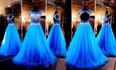 Amazing Prom Dress,Blue Prom Dress,Sexy Cap Sleeve Prom