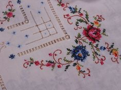 cotton cross stitch embroidery hemstitch tablecloths