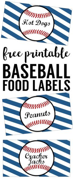Baseball Food Labels Free Printable. Easy DIY Baseball decorations for a baseball birthday party, baseball baby shower, world series party, or team party.