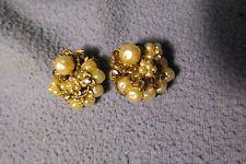 Vintage Miriam Haskell Pearl and Rhinestone Gold Tone Earrings