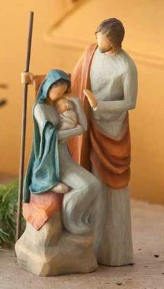 Willow Tree® The Holy Family Inches - The Holy Family collection is ideal for those looking for a smaller nativity option. Willow Tree Figures, Willow Tree Nativity, Willow Tree Angels, Willow Tree Meaning, Willow Tree Family, Willow Tree Cake Topper, Christmas Nativity Set, Nativity Sets, Family Christmas