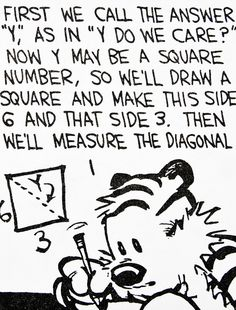 "Calvin and Hobbes, DE's CLASSIC PICK of the day (8-15-14) Hobbes helps Calvin with his math:  First we call the answer ""Y"", as in ""Y do we care?""  (this pretty much sums up math for me!)"