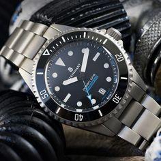Ocean Titanium Steinhart Diver Watch 500 Premium - Strap Titanium 22mmx18mm screwed Dream Watches, Sport Watches, Watches For Men, Steinhart Ocean One, Steinhart Watch, Watch Fan, Affordable Watches, Blue Accents, Omega Watch