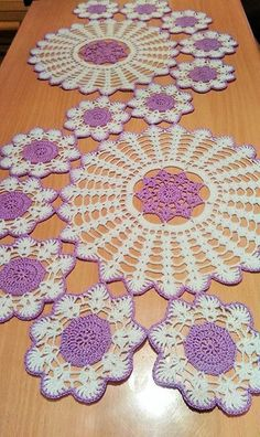 Lovely assorted hand crochet white floral doilies, handmade round coasters, round table doily set for doily runner DIY ~ Nice gift for Mom Crochet Table Topper, Crochet Table Runner Pattern, Crochet Pillow Pattern, Crochet Doily Patterns, Crochet Tablecloth, Crochet Motif, Crochet Designs, Crochet Doilies, Crochet Flowers