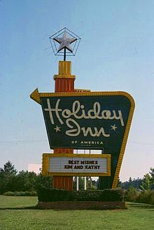 Holiday Inn The Great Sign as once seen on US highways in the 1950s, 60s, and 70s. The Holiday Inn was another chain of hotels that my family and I used when traveling by car.