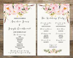 wedding program printable bohemian floral wedding program boho watercolor flower ceremony program printable digital files pgw 30 - Free Wedding Program Templates