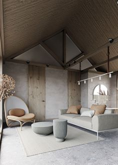 Contemporary small house with natural color palette and textures. Design by Maria Marinina Contemporary small house with natural color palette and textures. Design by Maria. Contemporary Interior Design, Modern Interior Design, Modern Decor, Interior Architecture, Scandinavian Design Furniture, Luxury Interior, Modern Rustic, Workshop Architecture, Interior Logo