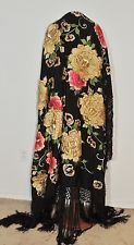 1920-30's Large Hand Embroidered Piano Shawl w Metallic Gold Flowers