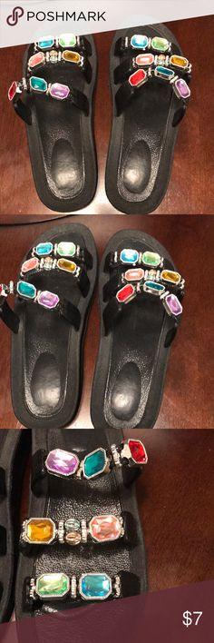 Flat jewel slides Flat jewel flats...black Shoes Sandals