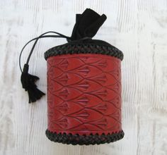 Leather Dice Bag Dragonskin by HopperLeather on Etsy, $108.72