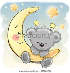 Illustration about Cute Cartoon Teddy Bear on the moon. Illustration of congratulation, bear, backgrounds - 71858811 Tatty Teddy, Baby Cartoon, Cute Cartoon, Teddy Bear Cartoon, Animal Drawings, Cute Drawings, Scrapbooking Image, Nail Art Noel, Baby Animals