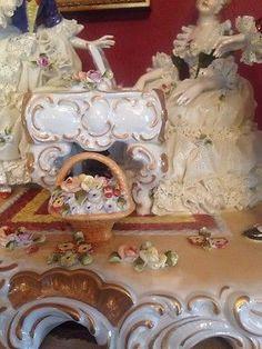 Estatuilla De Encaje De Porcelana Dresden unterweissbach Grupo Musical Piano