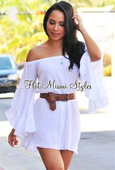 White Gauze Off-The-Shoulder Tunic Top/Mini Dress Womens clothing clothes hot miami styles hotmiamistyles hotmiamistyles.com sexy club wear evening  clubwear cocktail party kim kardashian dresses