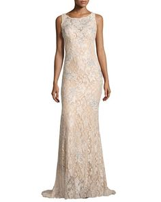 Sleeveless Lace Mermaid Gown  by Jovani at Neiman Marcus.