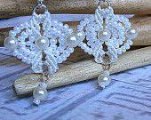 Bridal bracelet cuff in micro macrame with vintage pearls. Handmade wedding jewelry.. $54.99, via Etsy.