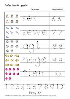 Preschool Lessons, Preschool Learning, Teaching Kids, Grade R Worksheets, Preschool Worksheets, Tracing Worksheets, Printable Activities For Kids, Book Activities, Afrikaans Language