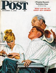 """size: Giclee Print: """"Haircut and Manicure,"""" Saturday Evening Post Cover, December 1948 by George Hughes : Artists Canvas Art Prints, Painting Prints, Paintings, Saturday Evening Post, Ad Art, Norman Rockwell, Vintage Ads, Giclee Print, Manicure"""