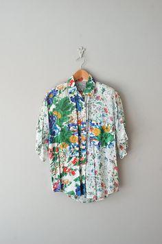 vintage sheer floral print blouse || http://www.etsy.com/listing/96764337/floral-blouse-floral-print-shirt-floral    #vintage #floral
