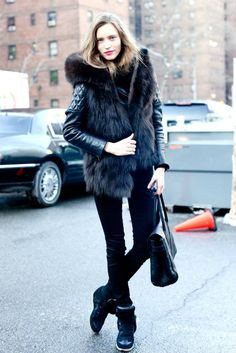 Winter Outfit- I love fur!! And I want those heel sneakers!