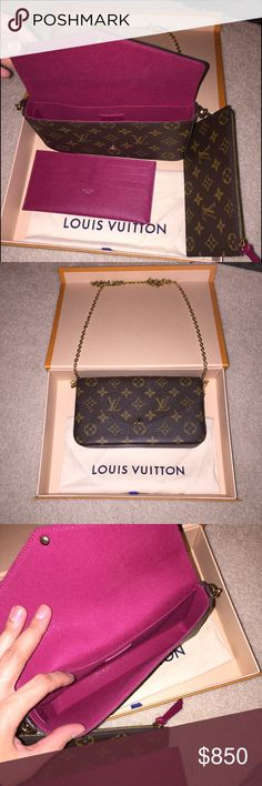 Louis Vuitton clutch Brand new never been worn this was bought as a gift for me for Christmas but I don't have any use for it. You can find it still on the Louis Vuitton web site under clutches it is usually $950 dollars. Still have the original tags inside, original box as well as the bag that it came with. Also has the serial number to register the purse in case something happens to it. It's decent size for a clutch when going out for the night. Comes with little red wallet and zip up…