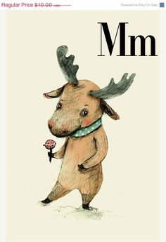 SALE M for Moose Alphabet animal Print 6x8 inches by holli, $8.00