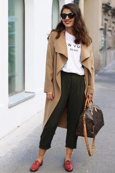 Camel Coat   Brandy Melville New York Shirt   Louis Vuitton Speedy B.   Gucci Jordaan Loafer   Le Specs Halfmoon   Fashionnes