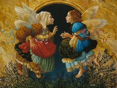 """""""Two Angels Discussing Botticelli""""    ...James Christensen,  March 1994"""