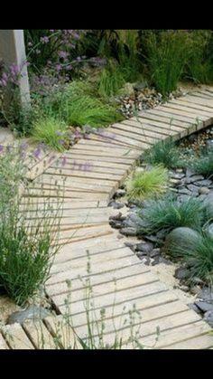 Designer: Sue Adcock - Wooden Boardwalk in Seaside Garden Seaside Garden, Coastal Gardens, Beach Gardens, Small Gardens, Outdoor Gardens, Gravel Garden, Garden Paths, Garden Landscaping, Landscape Design