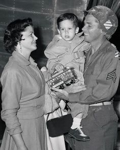 The Murphy's on the set of 'To Hell and Back' circa 1954, holding young Terry.