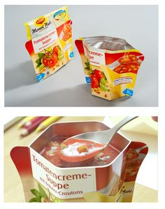 """Maggi """"Moment Mahl"""" a practical collapsible-cup packaging for instant soups. The packaging is remarkable due to the combination of a flexible pouch that contains the product and a folding paperboard part that turns into a convenient cup upon squeezing the bag."""